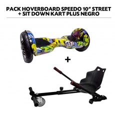 "Pack Hoverboard Speedo 10"" Street+Sit Down Kart Plus Negro"