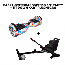 "Pack Hoverboard Speedo 6.5"" Party + Sit Down Kart Plus Negro"