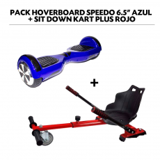 "Pack Hoverboard Speedo 6.5"" Azul + Sit Down Kart Plus Rojo"