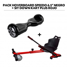 "Pack Hoverboard Speedo 6.5"" Negro + Sit Down Kart Plus Rojo"