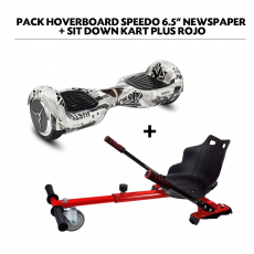 "Pack Hoverboard Speedo 6.5"" Newspaper + Sit Down Kart Plus Rojo"