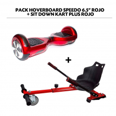 "Pack Hoverboard Speedo 6.5"" Rojo + Sit Down Kart Plus Rojo"