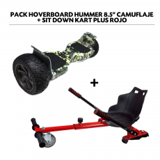 "Pack HoverBoard Hummer 8.5"" Camuflaje + Sit Down Kart Plus Rojo"