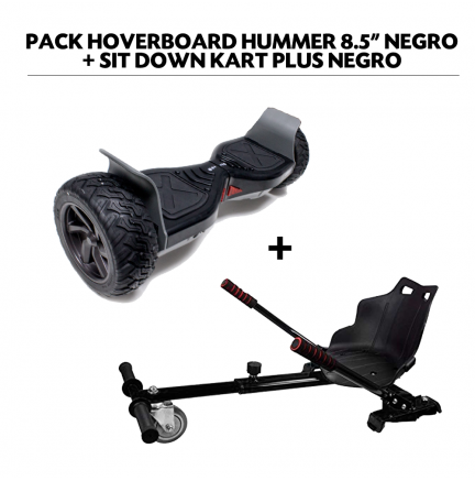 "Pack HoverBoard Hummer 8.5"" Negro + Sit Down Kart Plus Negro"
