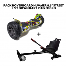"Pack HoverBoard Hummer 8.5"" Street + Sit Down Kart Plus Negro"