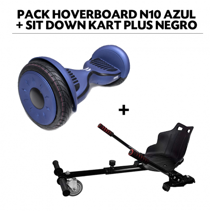 Pack Hoverboard N10 Azul+Sit Down Kart Plus Negro