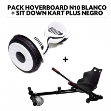 Pack Hoverboard N10 Blanco+Sit Down Kart Plus Negro