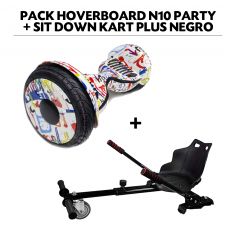 Pack Hoverboard N10 Party+Sit Down Kart Plus Negro