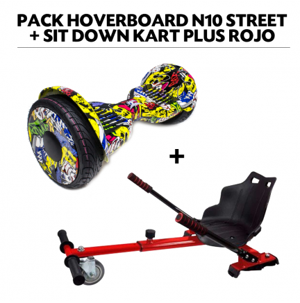 Pack Hoverboard N10 Street+Sit Down Kart Plus Rojo