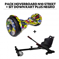 Pack Hoverboard N10 Street+Sit Down Kart Plus Negro