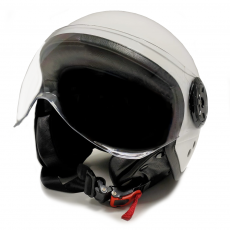 White Motorcycle Jet Helmet with Protective glasses Size L
